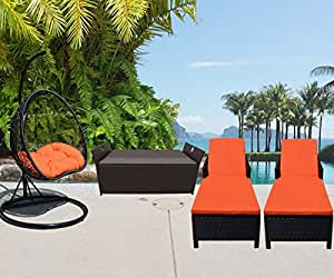 4 PC Outdoor Garden Patio Set Wicker Furniture #4 Hanging Rattan 2 Person Egg Shape Swing Chair Sunbed Sun Bed Lounge Chair Storage Box Chest Deck Poolside Storage Box