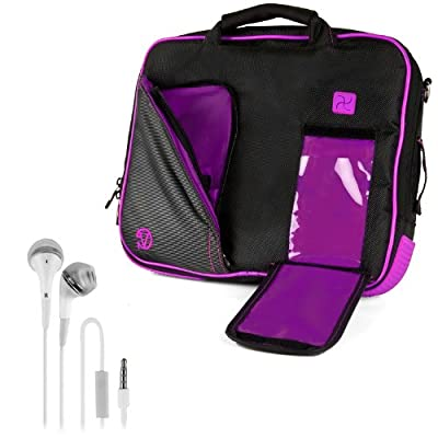 VanGoddy Pindar Sling - BLACK PURPLE PLUM Pro Deluxe Shoulder Messenger Carrying Bag for Lenovo Yoga 2 13' inch Windows Laptop + White Hands-free Earphones Headphones w/ Microphone