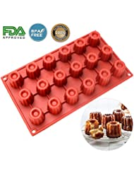 Silicone Cannele Mold - 18 Cavities Nonstick Silicone Mold , Ice Cube Tray , Soap Mold , Cannele Bordelais Baking Mold for  Bordelais Fluted Cakes , Biscuit , Chocolate , Pudding