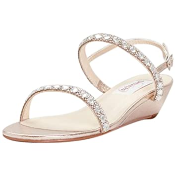 65f4c312c401 Image Unavailable. Image not available for. Color  Crystal-Embellished  Metallic Low Wedge Sandals ...