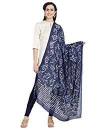 Dupatta Bazaar Woman's Cotton Indigo & Off White Block Printed Dupatta