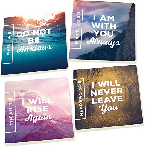 - Nature Encouraging Scripture, I Am With You Always 4 Piece Square Ceramic Coaster Set