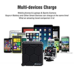Corprit Dual Battery Slots Dock Charger for Gopro Hero 4,Emergency Power Bank for Mobile Phones Tablets iPad and Action Cameras