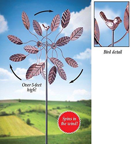 3D Double Pinwheel Leaves Bird Windspinner Metal Garden Stake Outdoor Yard Decoration