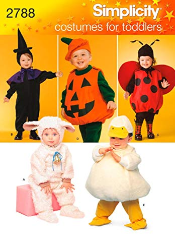 Simplicity 2788 Lamb, Chick, Witch, Pumpkin and Lady Sewing Pattern for Toddlers Halloween Costume, Sizes A 1/2-4 -