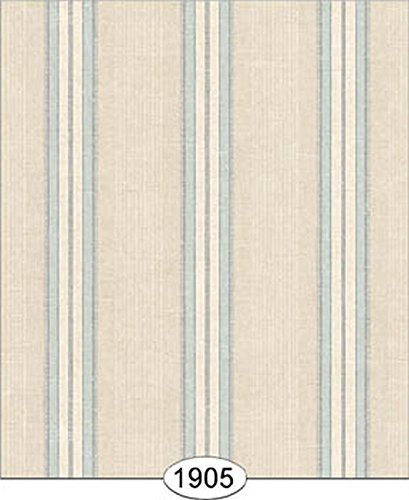 Dollhouse Wallpaper Wesley Linen Stripe Blue on Ivory
