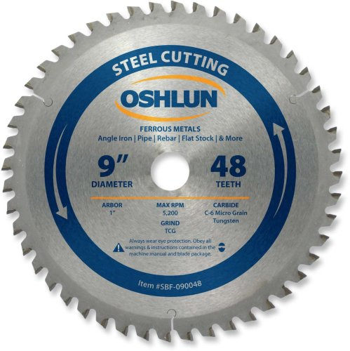 Oshlun SBF-090048 9-Inch 48 Tooth TCG Saw Blade with 1-Inch Arbor for Mild Steel and Ferrous Metals
