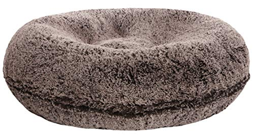 BESSIE AND BARNIE Signature Frosted Willow Luxury Shag Extra Plush Faux Fur Bagel Pet Dog Bed