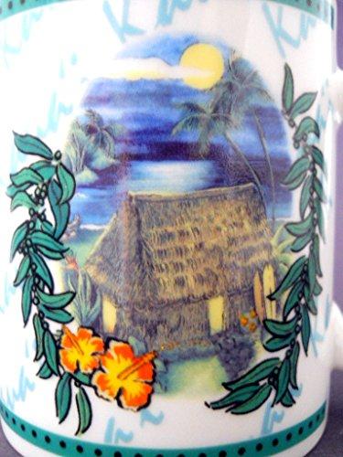 Hilo Hattie Hawaiian Coffee Mug 2002 Oceanfront Grass Hut Bright Moon Palm - Lo Hi Hut
