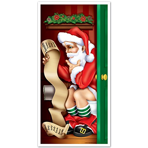 Santa Restroom Door Cover Party Accessory (1 count) (Halloween Party Supply List)