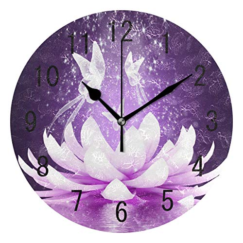 ALAZA Home Decor Purple Lotus Flower Butterfly Round