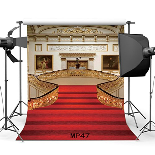 Gladbuy 2X2FT Red Carpet Backdrop Castle Luxurious Palace Elegant Stiarcase Frame Mural Painting Carving Embossment Interior Vinyl Photography Background Dogs Pets Cakes Photo Studio Props MP47 - Edge Tech Digital Picture Frame