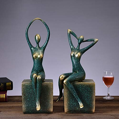 (A Pair Wine Rack Jewelry Yoga Resin Sculpture Furniture Decoration Jewelry Decoration, Living Room Cabinet Crafts Gift 3 Color Optional Home (Color :)