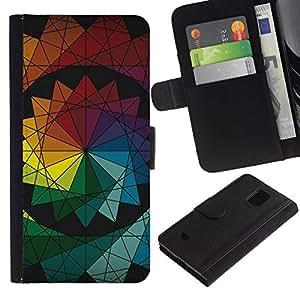 PHONE CASE GIFT Moda Estuche Funda de Cuero Billetera Tarjeta de crédito dinero bolsa Cubierta de proteccion Caso Samsung Galaxy S5 Mini, SM-G800/Symmetrical Colors/