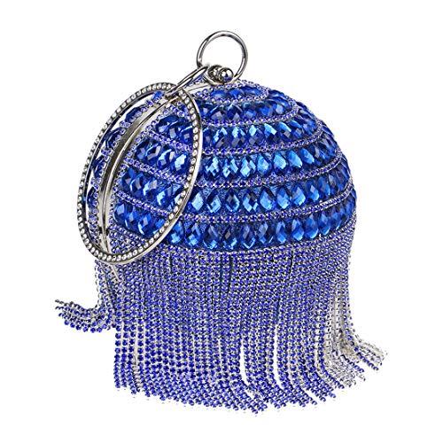 Sacs tour À Parti Mariage Paillettes Sac Petit Luckywe Fashion Femmes Glands Bleu Soirée De Diamants PZ04xzq7Ow