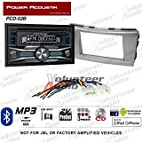 Volunteer Audio Power Acoustik PCD-52B Double Din Radio Install Kit with Bluetooth, CD Player, USB/AUX Fits 2007-2011 Non Amplified Toyota Camry (Silver)