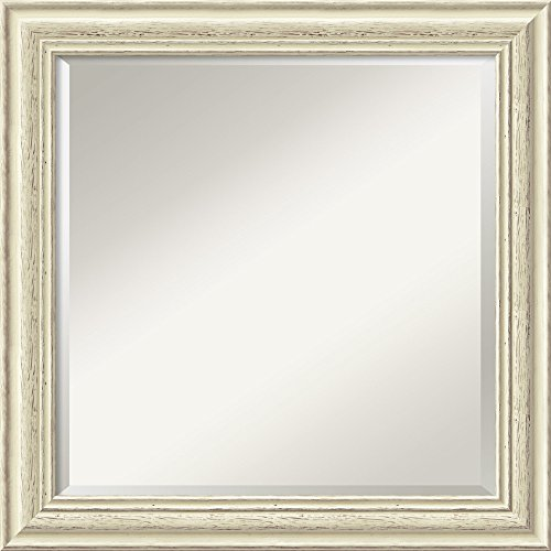 Wall Mirror Square, Country White Wash Wood: Outer Size 24 x 24