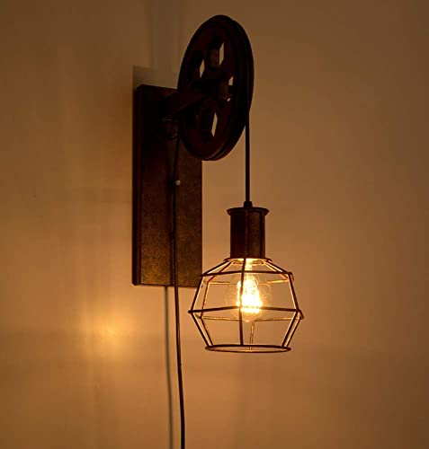 1 Light Wall Sconce Industrial Retro Iron Wall Lamp Creative Personality Lift Pulley Wall Lamp Lights Fixture