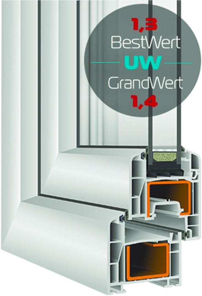 ALLE GR/Ö/ßEN BxH:80x95 cm DIN Rechts wei/ß Kellerfenster Dreh-Kipp PVC - Fenster Premium 2 fach Verglasung Kunststoff