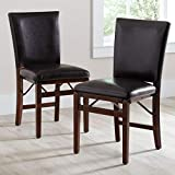 Wood and Leather Folding Chairs BrylaneHome Parsons Folding Chairs, Set of 2