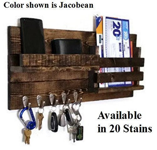 Renewed Decor Farmhouse Rustic Mail Organizer Featuring Customizable Number of Key Hooks, Shelf, Mail Slot, available in 20 Colors
