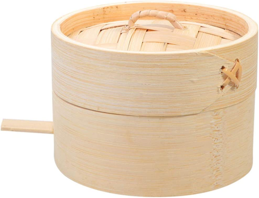 Hemoton Bamboo Steamer, Natural Wooden Steamer Basket, Classic Asian Food Steamer, Healthy Food Cooking, Chinese Steamer with Cover, Great for Dumplings, Vegetables, Chicken, Fish, Steam Rice, 9cm