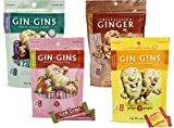 Gin Gins Ginger Candy Variety Pack: Original Chewy (3 Oz.); Spicy Apple Chewy (3 Oz.); Crystallized (3.5 Oz.); Double Strength (3 Oz.) (4 bags total)