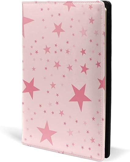 Pink Stars - Fundas de piel para libros de texto, cuadernos de oficina, libros de texto, tapa dura, tamaño A5, 5.8 x 8.7 pulgadas, para niñas y niños: Amazon.es: Oficina y papelería