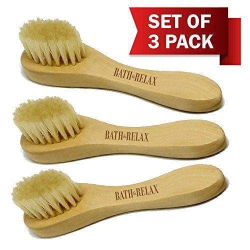 Natural Bristles - Face Cleansing Brush, Deep Pore Scrub Fac