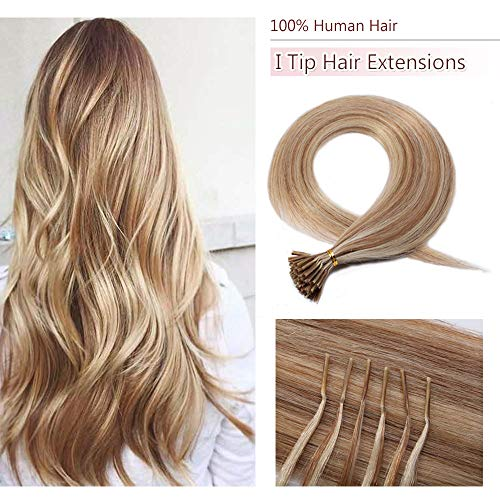 100 Strands/Pack I Tip Remy Human Hair Extensions Pre Bonded Keratin Stick In Hair Extensions Cold Fusion Hair Piece For Women Long Straight #12P613 Golden Brown&Bleach Blonde 16'' 50g
