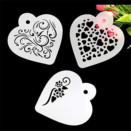 Hot Sale!DEESEE(TM)3Pcs DIY Cake Coffee Stencils Spray Mold Decorating Print Sugar Modeling Tool (A)