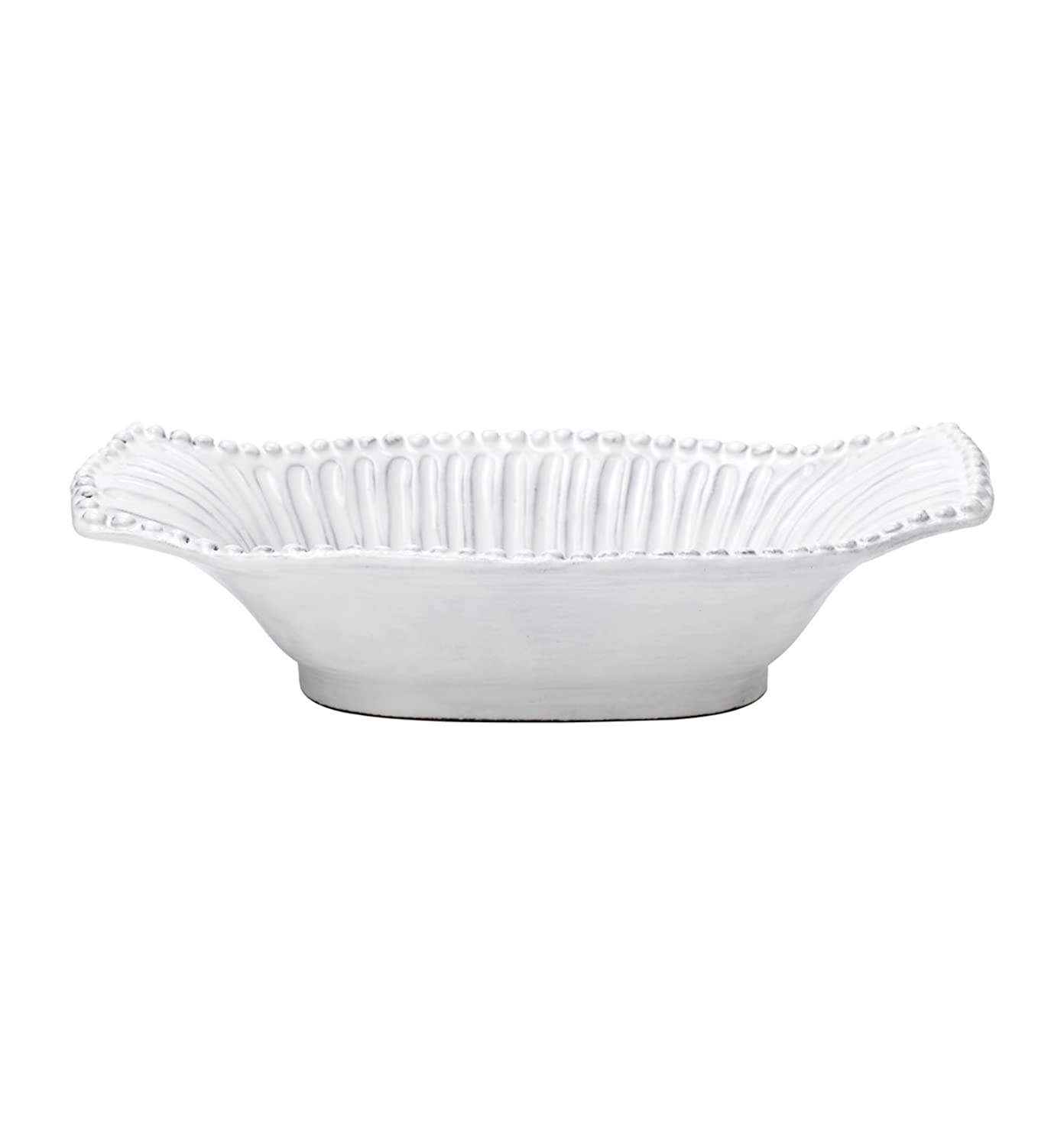 Vietri INC-1154 Incanto Stripe Small Au Gratin Dish, White