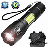 Smartmago 1000 Lumens LED Flashlight with COB Light - Portable and Zoomable CREE T6 LED Handheld Light with 4 Modes(18650 Battery Not Included)
