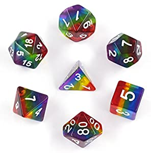 HUICHUANG Rainbow Dice, Polyhedral DND Dice Sets for Dungeons and Dragons Role Playing Game including Soft Dice Pouch