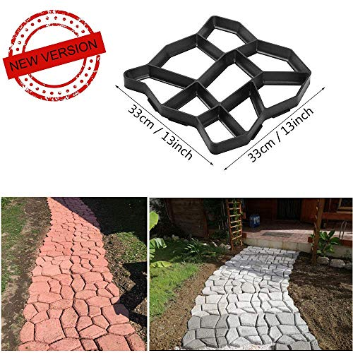 VIPITH New Upgrade Version 13 x 13 inch DIY Walk Maker Concrete Stepping Stone Mold Reusable Patio Path Mold Maker Garden Lawn Paving Stone Mold (Garden Stone Concrete)