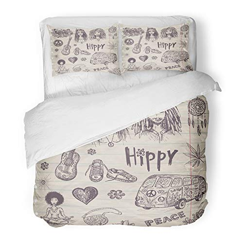Emvency 3 Piece Duvet Cover Set Brushed Microfiber Fabric Breathable Flower Hippie with Girl and Guy Bus Guitar Love Sign Marijuana Vintage Sketch Bedding Set with 2 Pillow Covers King Size ()