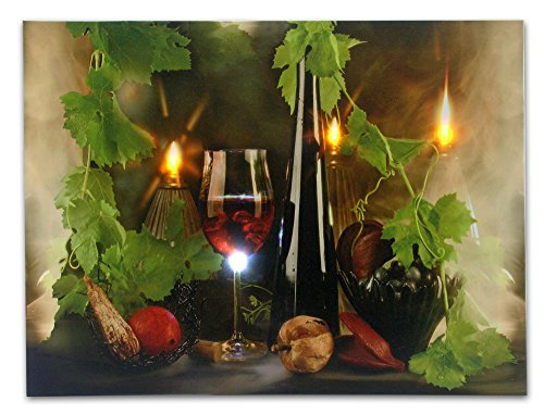 Wine Decor - Canvas Wall Art with LED Lights - Wine Print with Flickering Lighted Candles with Wine Glasses and Wine Bottle Picture - 12x16 Inch