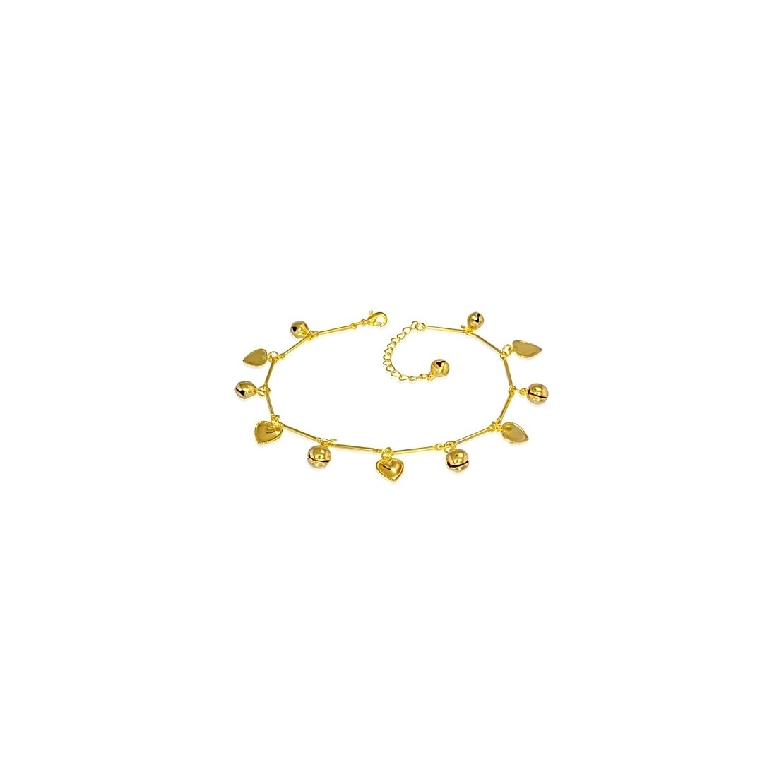 Fashion Gold Color Plated Copper Love Heart Jingle Bell Charm Bracelet/ Anklet with Extender Chain