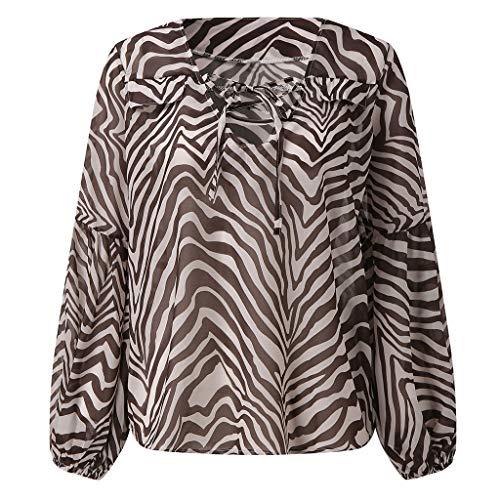 haoricu Women's Long Sleeve t Shirt Sexy Deep V Bat Sleeve Cocktail Party Holiday Blouse Leopard Print Tee Brown