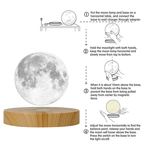 KFISI Moon Lamp 3D Printing Magnetic Levitation Moon Light Lamps with 360 Auto Rotating and 4 Working Light Modes - for Home、Office Decor, Creative Gift (3.9 Inch)