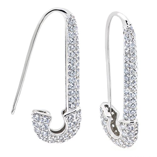Dangling Safety Pin (Sparkly Bride Safety Pin Dangle Earrings CZ Rhodium Plated Women Fashion, 1.5 inches)