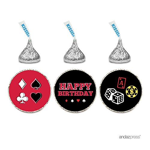 Andaz Press Birthday Chocolate Drop Labels Trio, Fits Hershey's Kisses Party Favors, Casino Party with Dice, 216-Pack]()