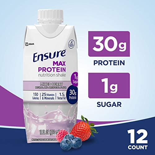 Ensure Max Protein Nutritional Shake with 30g of High-Quality Protein, 1g of Sugar, High Protein Shake, Mixed Berry, 11 fl oz, 12 Count