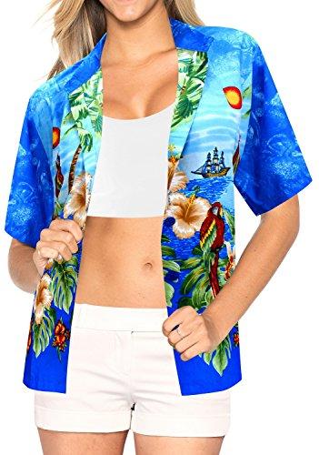 La Leela Likre Short Sleeve Button up Down Cruise Tropical Carribean Hibiscus Floral Flower B_Blue (Tropical Floral Silk Skirt)