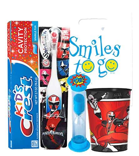 Power Rangers Boy 4pc Bright Smile Oral Hygiene Bundle! Red Ranger Turbo Spin Toothbrush, Brushing Timer & Mouthwash Rinse Cup! Plus Dental Gift Bag & Tooth Saver Necklace! ()