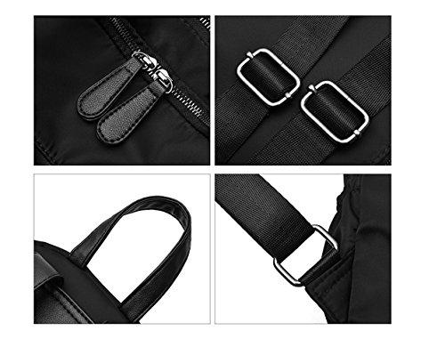 RFVBNM Frau Tasche Double Umhängetasche Frauen Oxford Canvas Nylon Rucksack Mode Persönlichkeit Dame Tasche Freizeitreise Rucksack Picknick Wander Tasche Rucksack Bestes Geschenk für Mädchen, schwarz