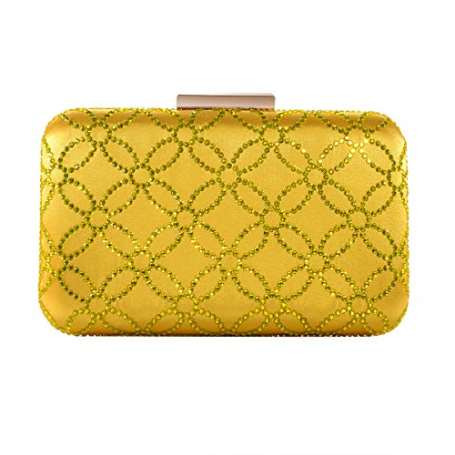 - DMIX Womens Large Satin Silk Hard Clutch Evening Bag and Handbags with Crystal for Wedding Bridal Party Prom Yellow