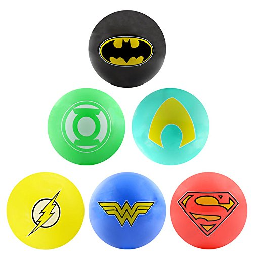 - AAG DC Comic Justice League Logo Balls - 6pc Set of Bright 5 inch Vinyl Balls - Inculdes Logos for Superman, Batman, Wonder Woman, The Flash, Green Lantern and Aquaman