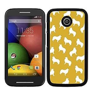 Funda carcasa para Motorola E estampado perro perros collie fondo naranja borde negro