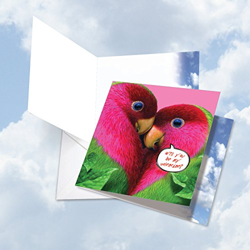 JQ4628AVDG New Jumbo Square-Top Valentine's Day Greeting Card: Love-birds Featuring Images of Brightly Hued Parrots Kissing and Snuggling Together, with Envelope (Giant Size: 8.25
